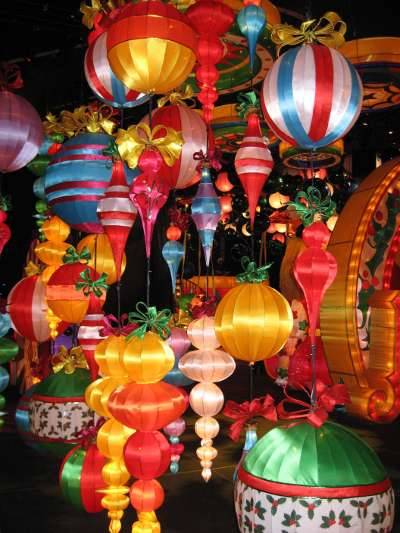 Some of the giant ornaments on display