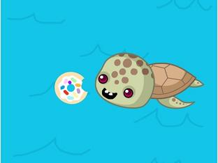 We did not feed the turtle a doughnut