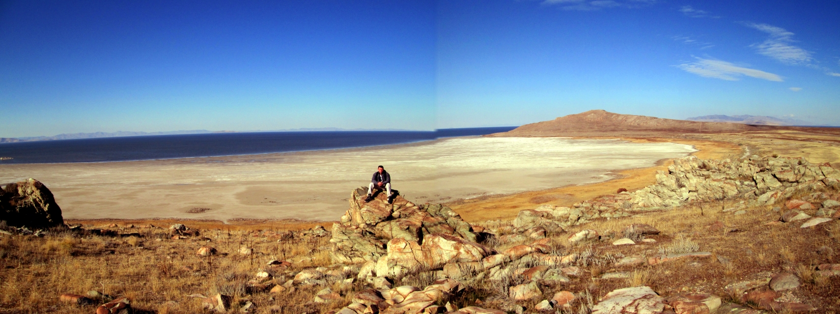 Justin, rocks, salt, and the Great Salt Lake