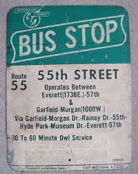 Old crosstown bus stop sign