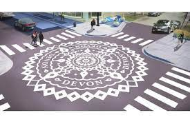Yantra painted in the street intersection